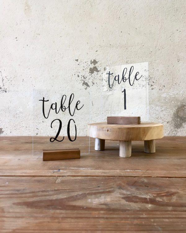 Numéro de table plexi noir